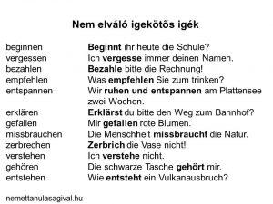 Nem elváló igekötős igék – német A1 szinten